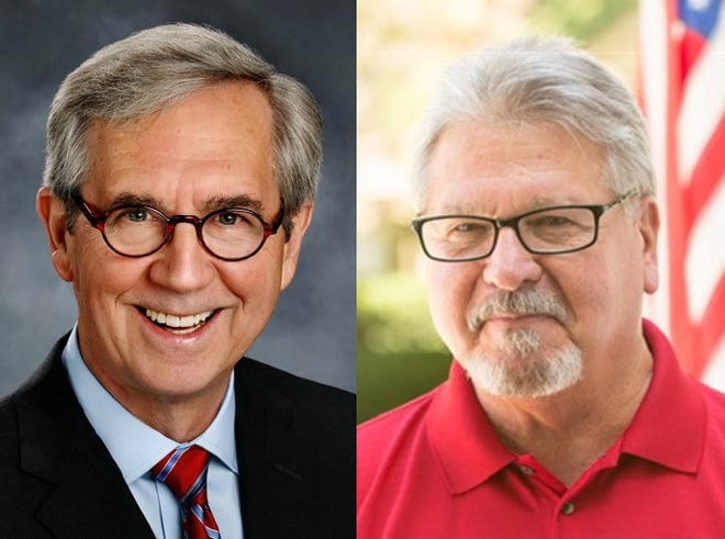 Democratic candidate Jeff Munzinger, left, and Republican candidate Craig Fishel, right, are running to represent the 136th District.