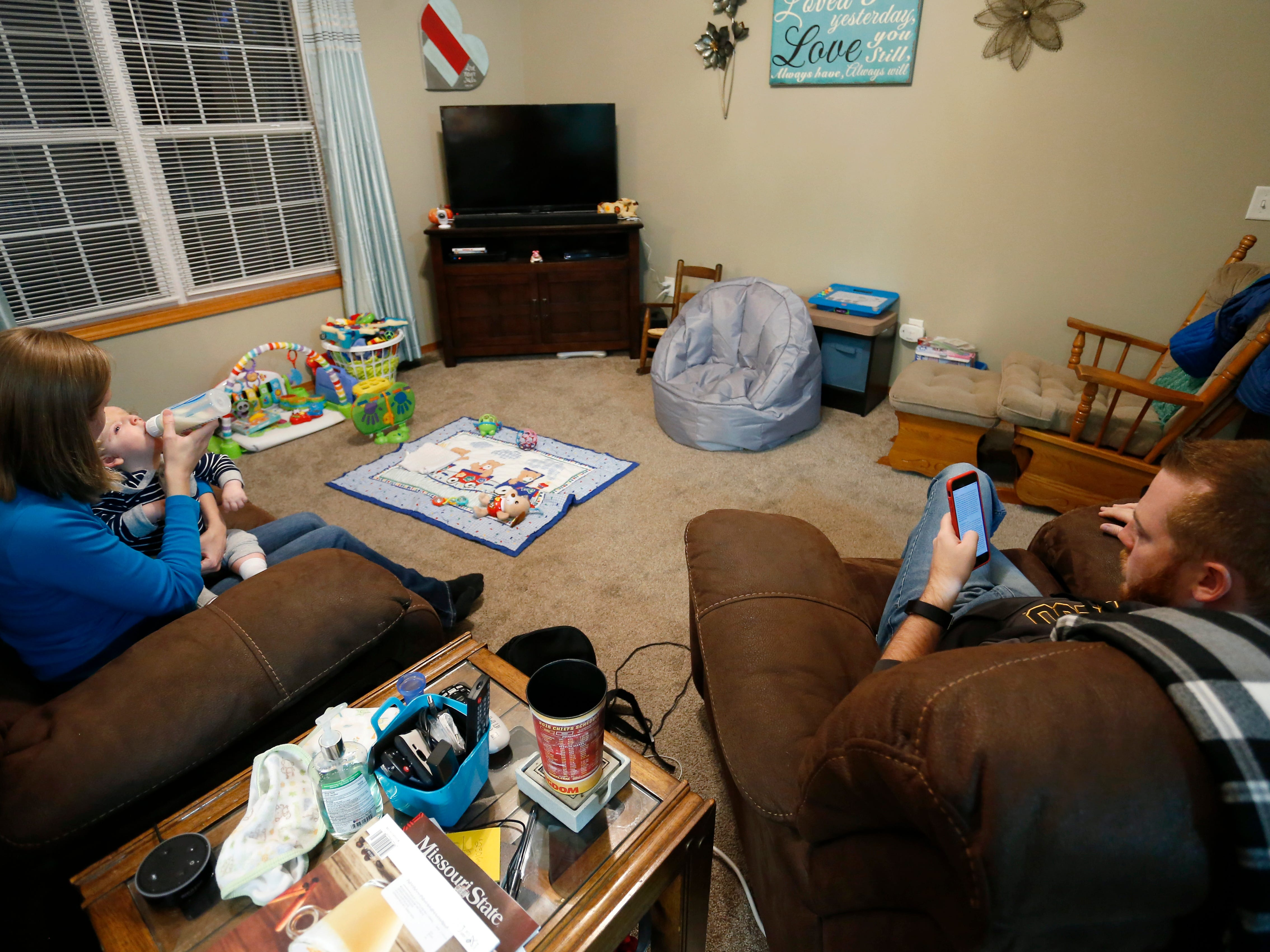 Jessica Masterson feeds her one-year-old son Owen at their home on Thursday, October 11, 2018. Owen was born missing the top part of his skull and was not expected to survive childbirth.