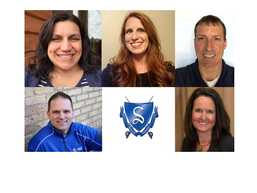 The 5 candidates running for Sartell-St. Stephen school board from top left: Amanda Byrd, 36, Taryn Gentile, 35, Patrick Marushin, 42, Jeremy Snoberger, 44, and Melinda Vonderahe, 47. Three seats are up for election Nov. 6.