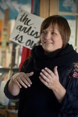 "Artist Heidi Jeub, pictured here, and others will participate in the ""Small but Noteworthy"" art event in Little Falls."
