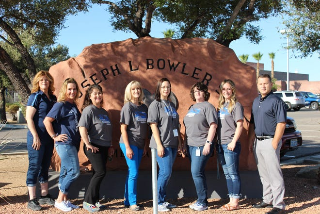 New staff members at J.L. Bowler Elementary are (from left) Richelle Sieland, Jill-Anna Myers, Christina Fairman, Kristin Marshall, Mandy Walter, Angela Crouch, Kate Leavitt and Rob Litzenberger.