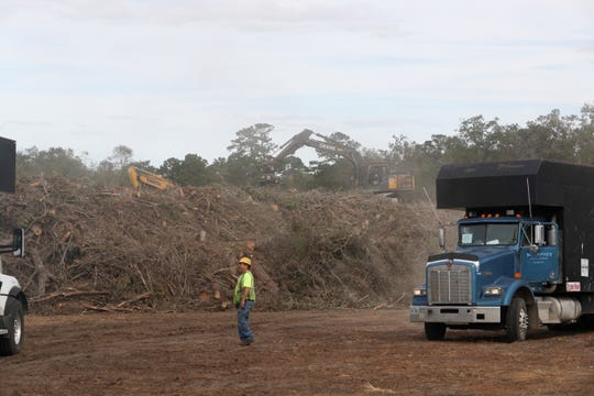 Debris picked up after Hurricane Michael are collected and piled at a joint site with Leon County and the City of Tallahassee on Miller Landing Road in Tallahassee Monday, Oct. 22, 2018.