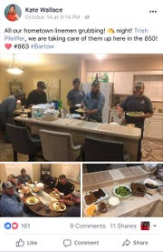 Kate Wallace took to Facebook to show how Tallahassee residents were opening their homes to the linemen and tree trimmers from Bartow and Wachula