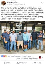 Bartow City Commissioner Trish Pfeiffer alerted her Facebook followers about the crew traveling to Quincy as part of the Hurricane Michael recovery efforts.