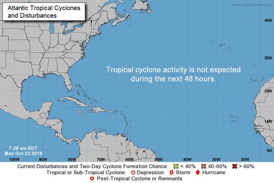 Atlantic basin 8 a.m. Oct. 22, 2018