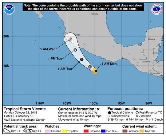 Tropical Storm Vincente 5 a.m. Oct. 22, 2108.