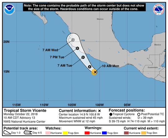 Tropical Storm Vincente 11 a.m. Oct. 22, 2018