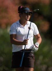 Lincoln Park Academy's Angelica Holman, watching her tee shot on the first hole of the Region 8-2A tournament Monday October 22, 2018 at Sandridge Golf Club in Vero Beach, is in third place at the Class 2A girls state tournament at Howey-in-the-Hills after an even-par 72 Friday, November 2, 2018.