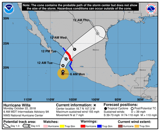 Hurricane Willa 8 a.m. Oct. 22, 2018
