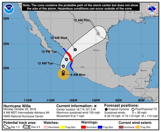 Hurricane Willa 8 a.m. Oct. 22, 2018