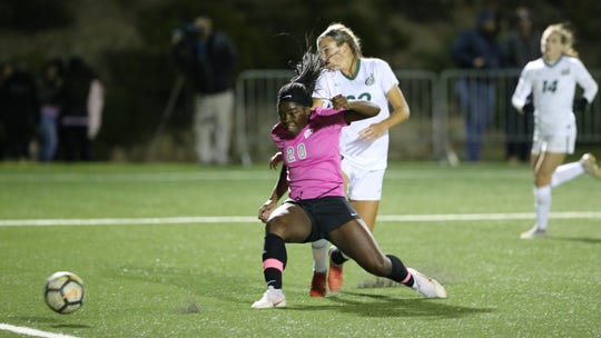 UTEP freshman soccer player Jojo Ngongo scored the game-winning goal earlier this month against UNC Charlotte during the Miners' Pink Out Night in recognition of Breast Cancer Awareness month.
