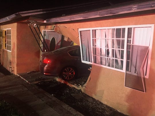 A vehicle crashed into an Oxnard residence early Monday. The driver reportedly fled the scene on foot.
