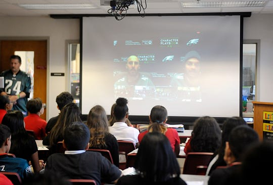 Students at Veterans Memorial in Vineland participate on a special virtual chat with players from the Philadelphia Eagles on Monday, October 22, 2018.
