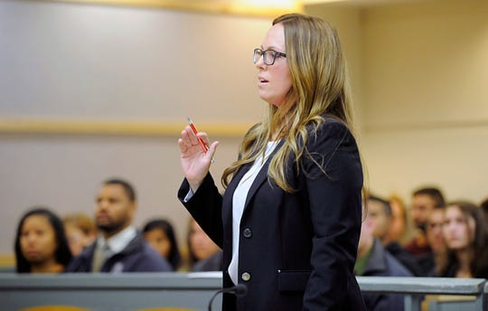 Assistant Prosecutor Rosina Rachuba speaks to Judge Joseph Chiarello during a hearing for Isaias Garza in Cumberland County Superior Court on Monday, October 22.