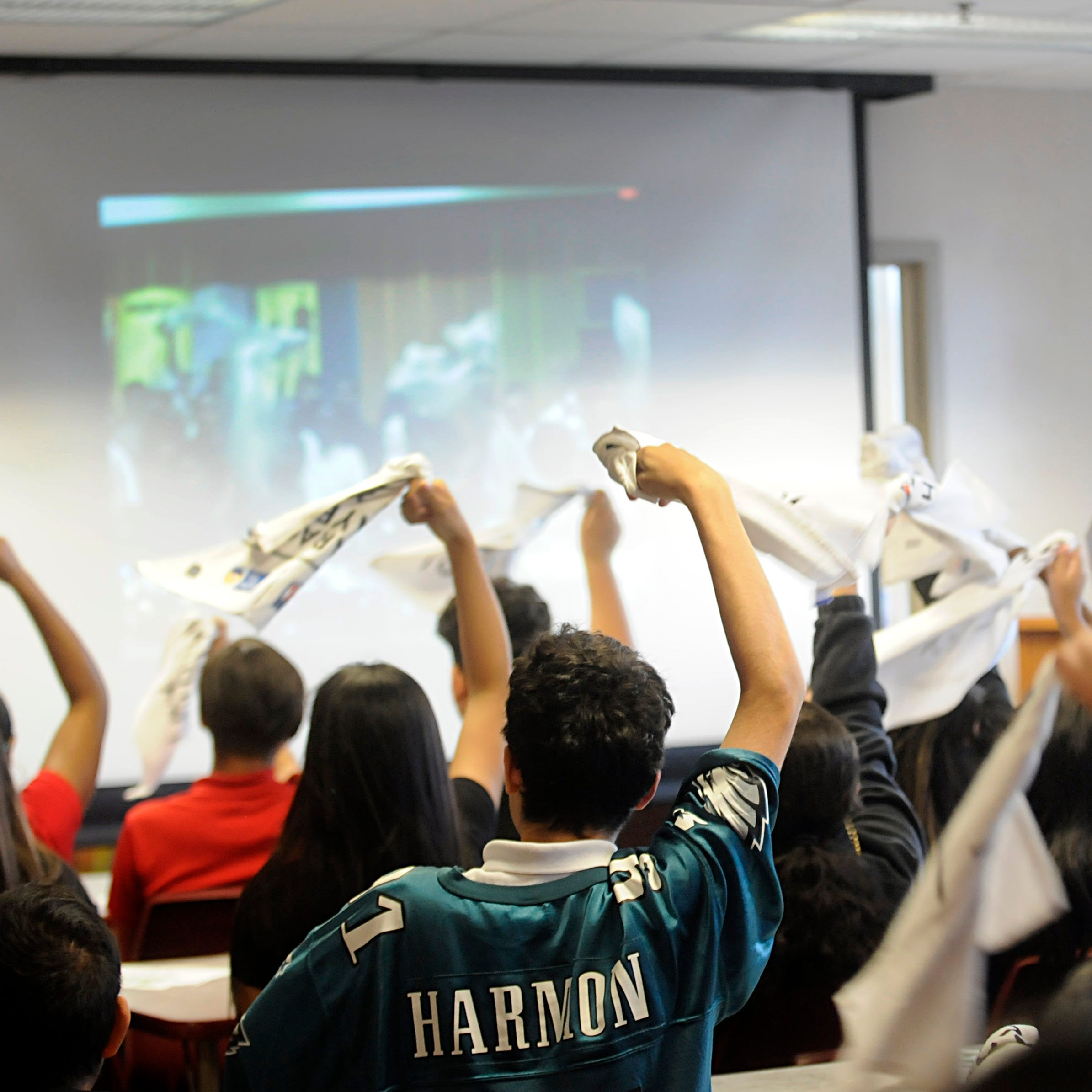 Eagles share good character playbook with Vineland students