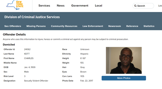Charles Keitt's page on New York's Sex Offender Registry. Keitt was required to update his photo in February