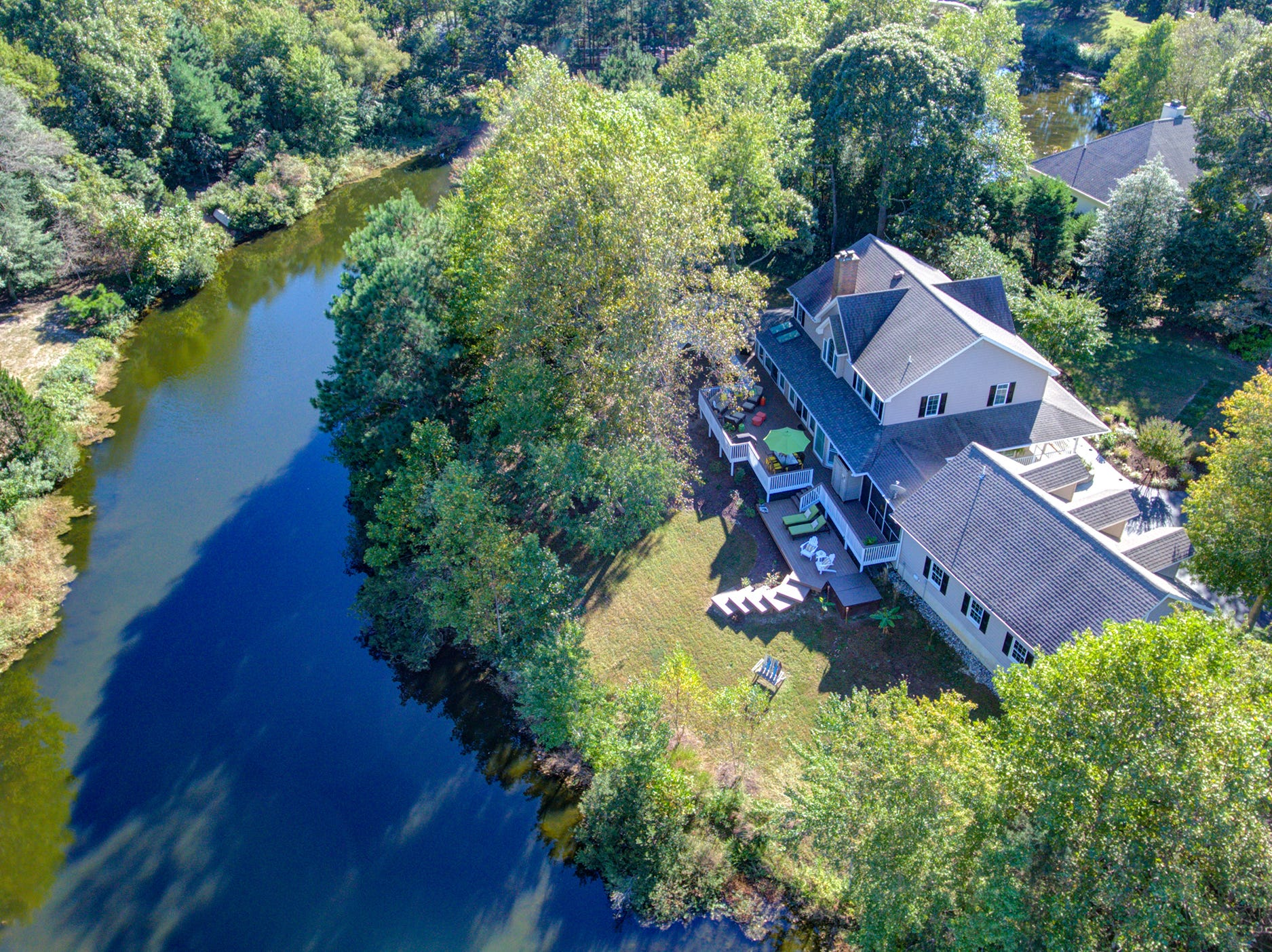The house at 204 Lakeview Shores in Rehoboth Beach backs up to a pond, one of several in the community on Holland Glade.