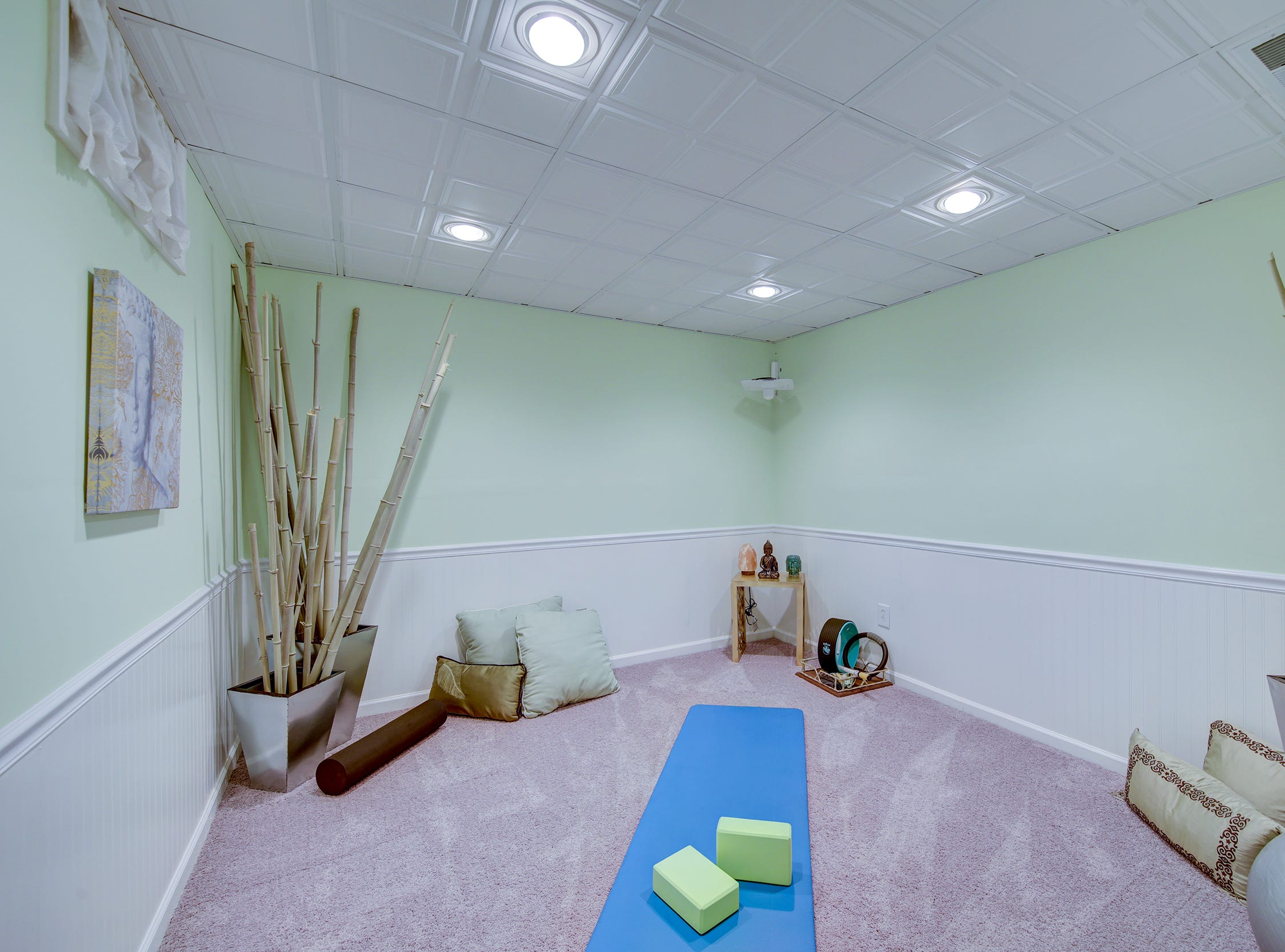 The lower level of 204 Lakeview Shores in Rehoboth Beach includes a designated yoga studio.