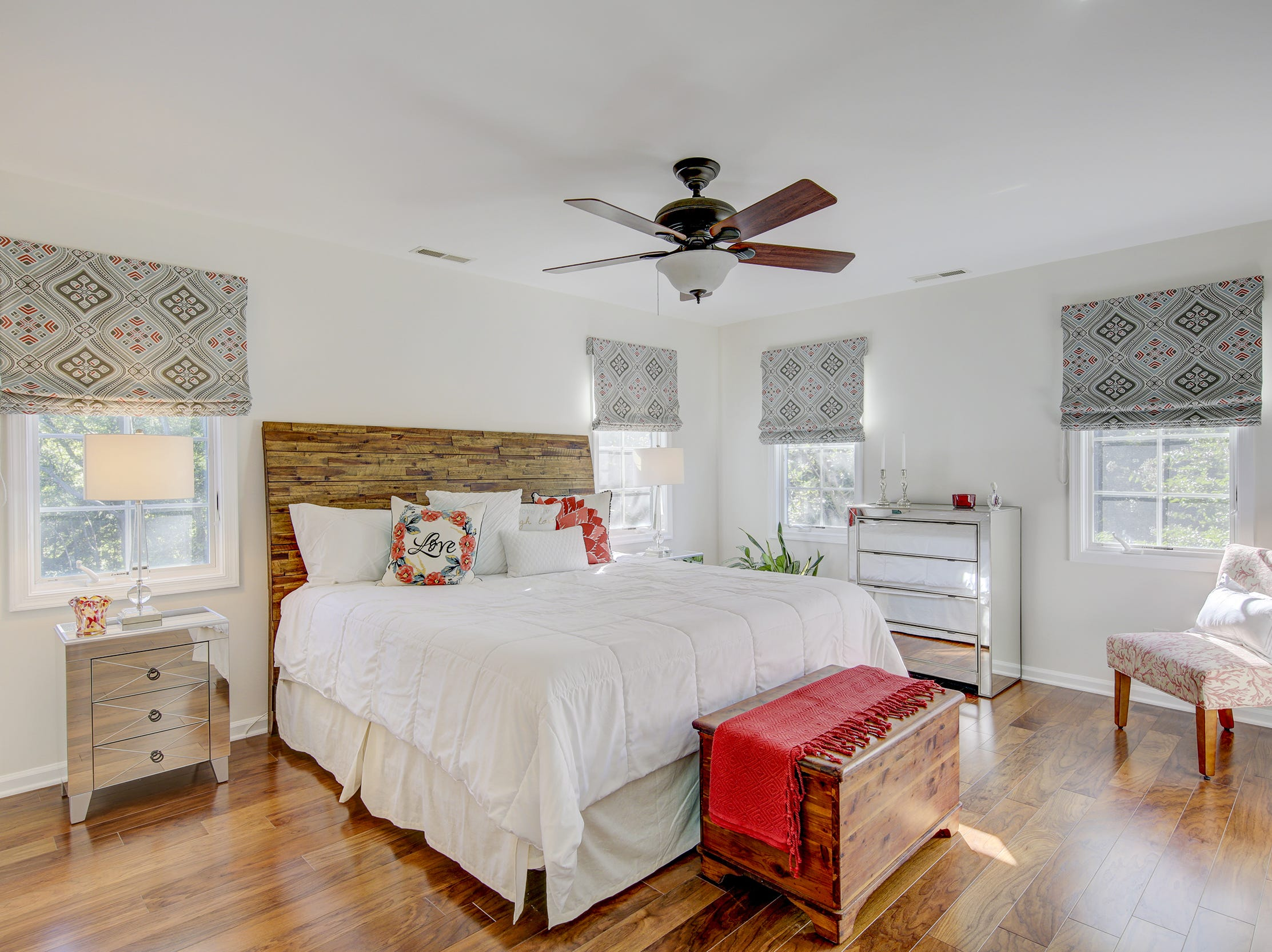 The first-floor master bedroom at 204 Lakeview Shores has lots of natural light.