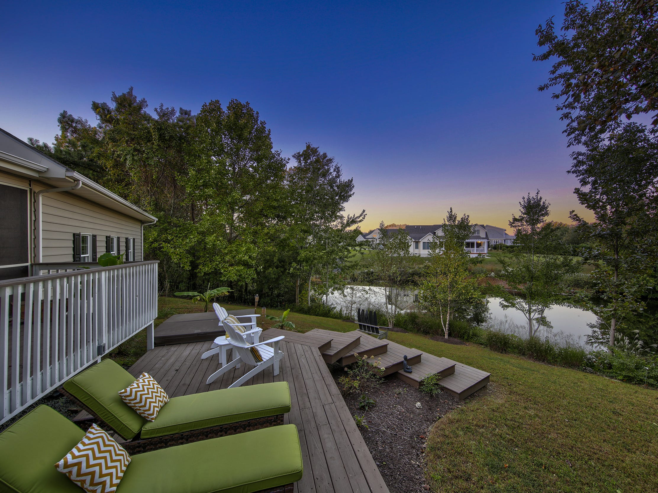 The back deck of 204 Lakeview Shores in Rehoboth Beach overlooks the pond.