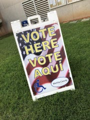 A sign designates the Wichita County Courthouse as an early voting location for the Nov. 6 election. Early voting started Oct. 22, and voters began lining up when the doors opened at 8 a.m.