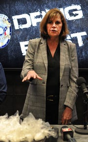 Wichita County District Attorney Maureen Shelton talks to the media about a large narcotic bust conducted by the Wichita Falls Police and Wichita County Sheriff's Office.