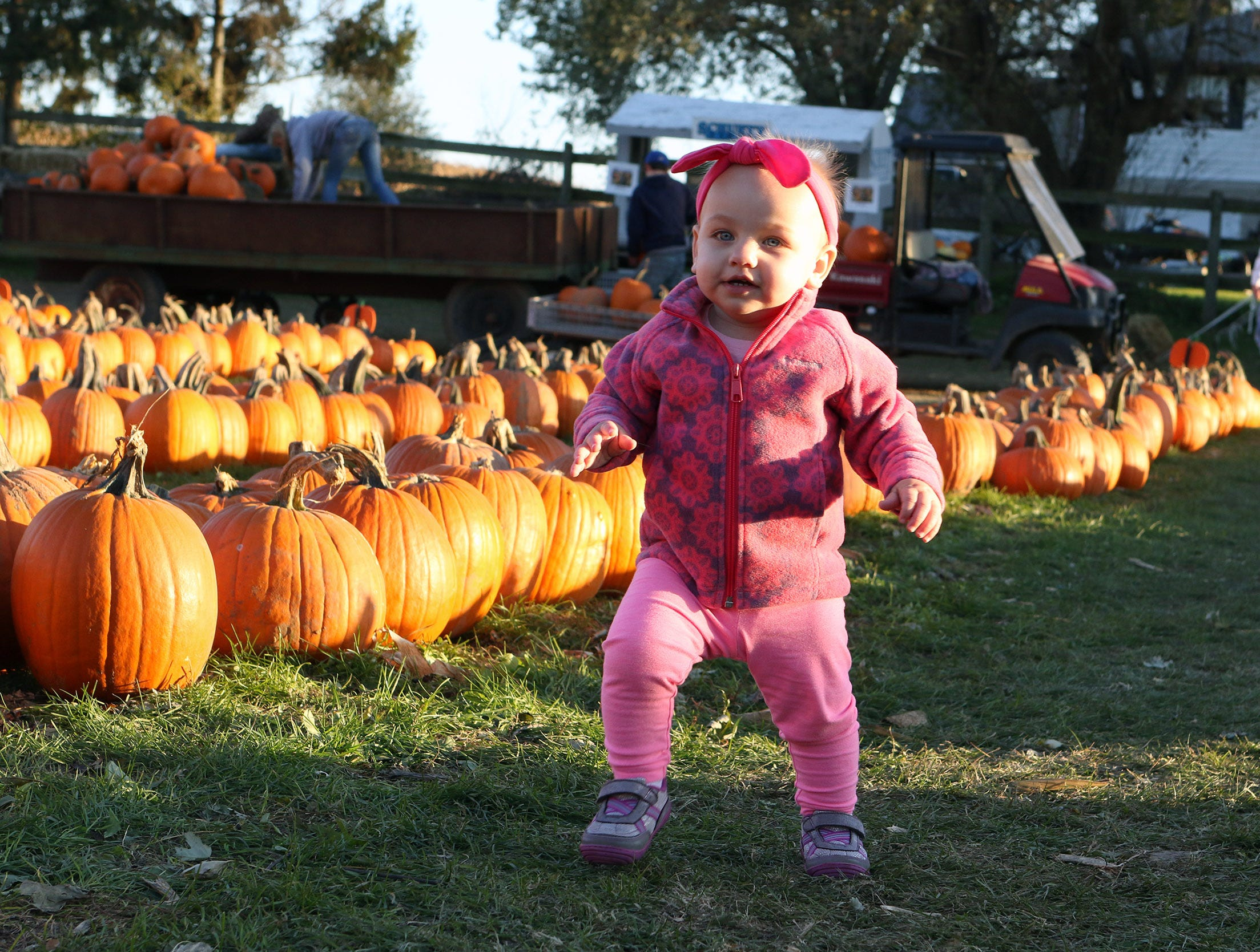 Naomi Boldt, 1, of Waukesha, makes a run for it between rows of pumpkins at Schuett Farms in Mukwonago on Oct. 22.