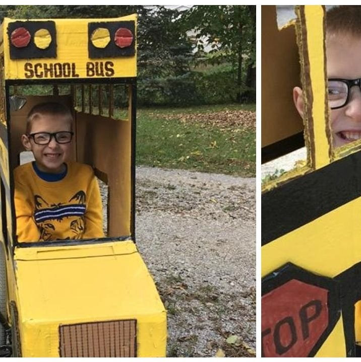 Blake Mompher loves school buses and this Halloween one is his costume fitted over his wheelchair.