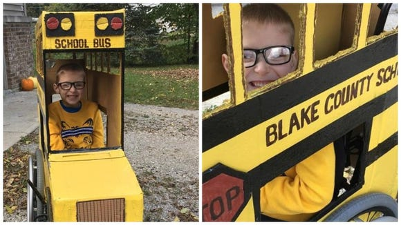 Blake Mompher loves school buses, and this Halloween edition is his costume fitted over his wheelchair.