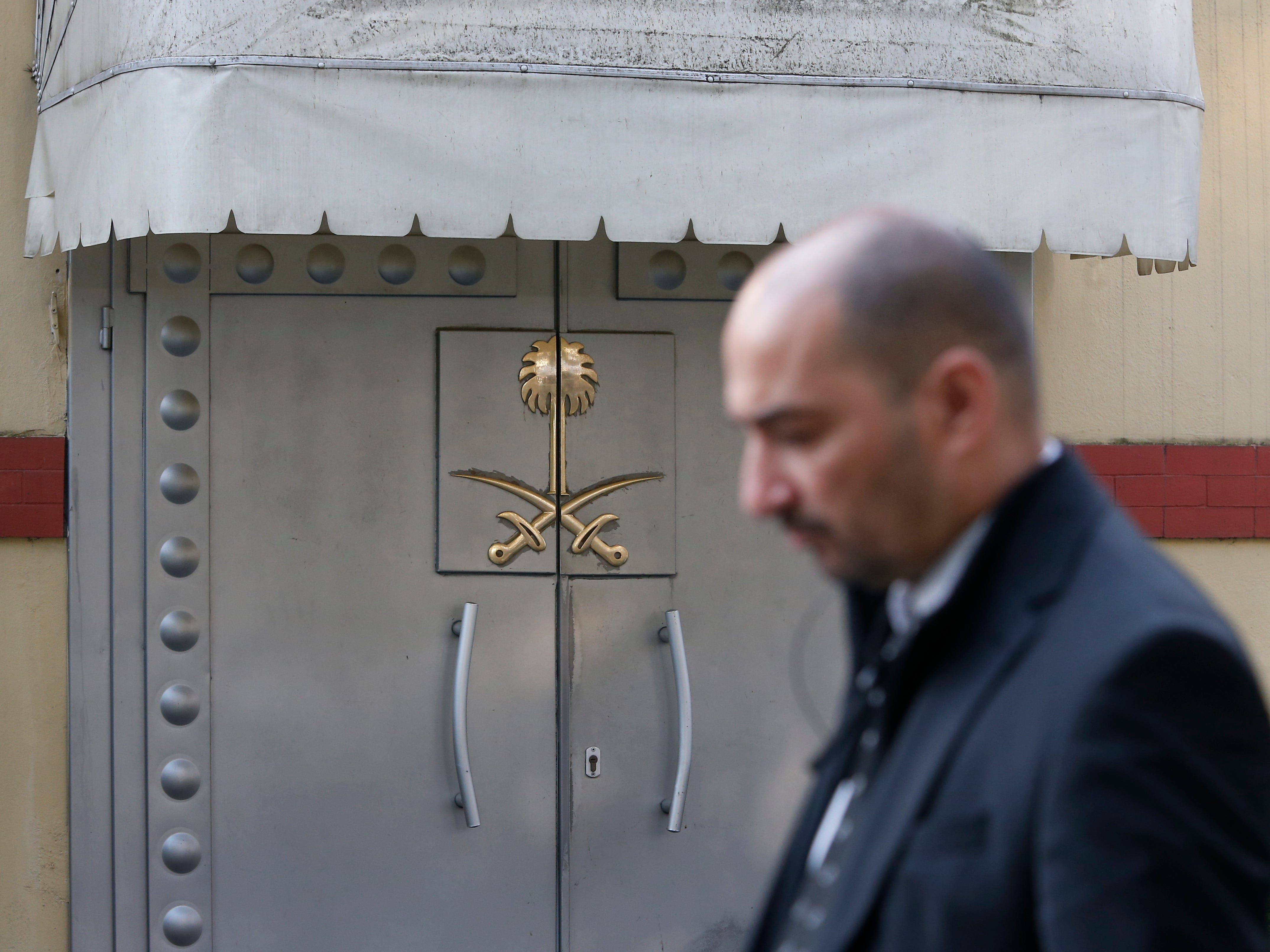 Security personnel guard Saudi Arabia's consulate in Istanbul, Monday, Oct. 22, 2018. Saudi Crown Prince Mohammed bin Salman called the son of Jamal Khashoggi, the kingdom announced early Monday, to express condolences for the death of the journalist killed at the Saudi Consulate in Istanbul by officials that allegedly included a member of the royal's entourage.