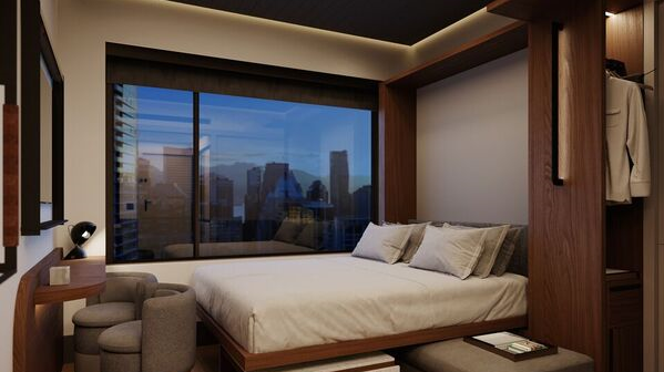 Hilton has introduced a new brand. Motto by Hilton will be a micro-hotel with smaller, flexible rooms. This is the wall-bed room type. The bed can be pushed up into the wall during the day and pulled down at night, as pictured.