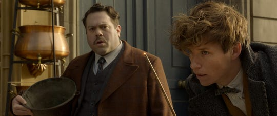 "Jacob Kowalski (Dan Fogler, left) is still amazed by his magical pal Newt Scamander (Eddie Redmayne) in the sequel ""Fantastic Beasts: The Crimes of Grindelwald."""