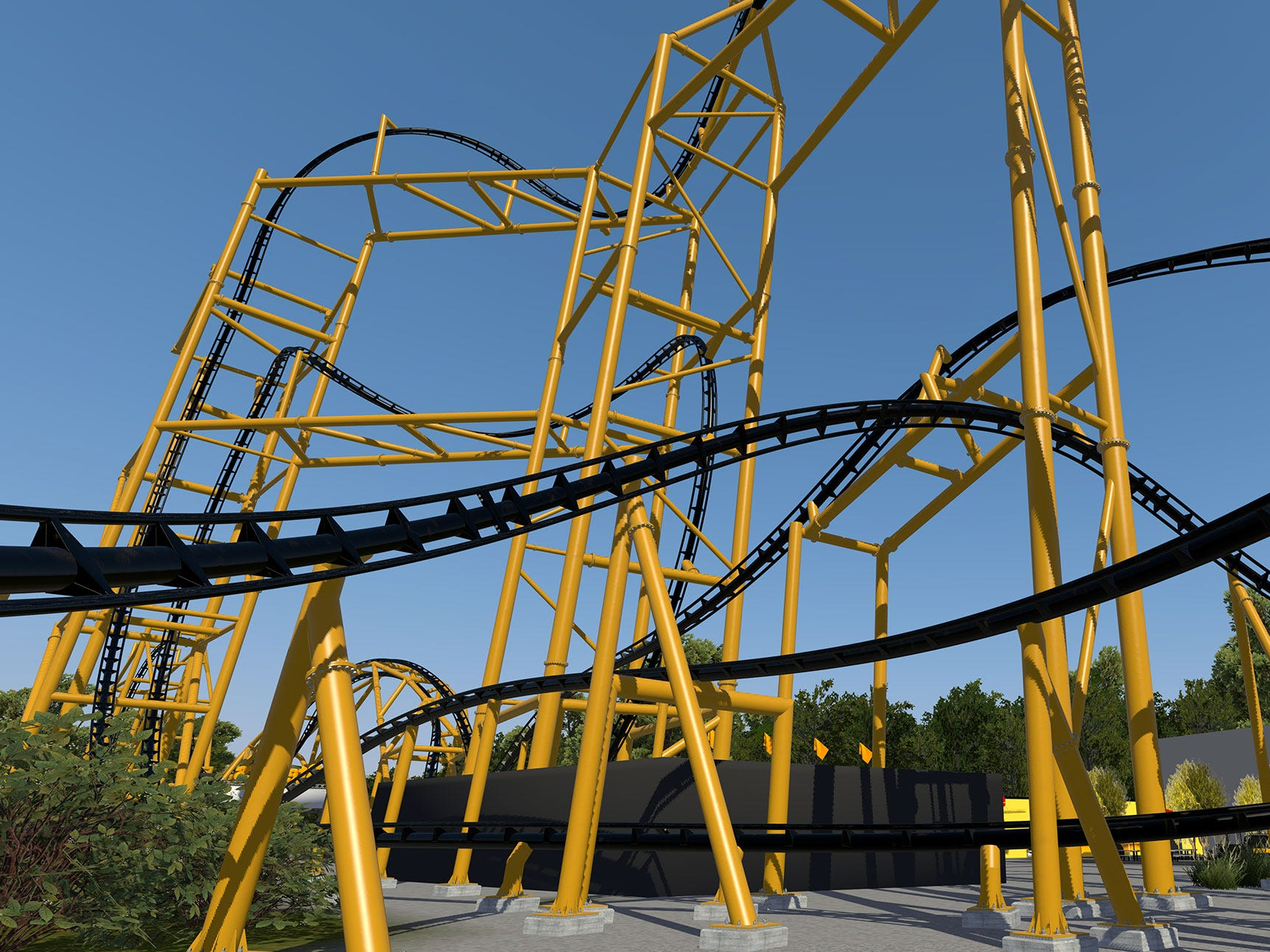 "Among the elements that will throw passengers for a loop will be a banana roll, a ""Top Gun"" stall (in which riders will experience zero-G sensations while hanging upside down for a few interminable moments) and a corkscrew that, at 197 feet in the air, will be the world's tallest inversion."