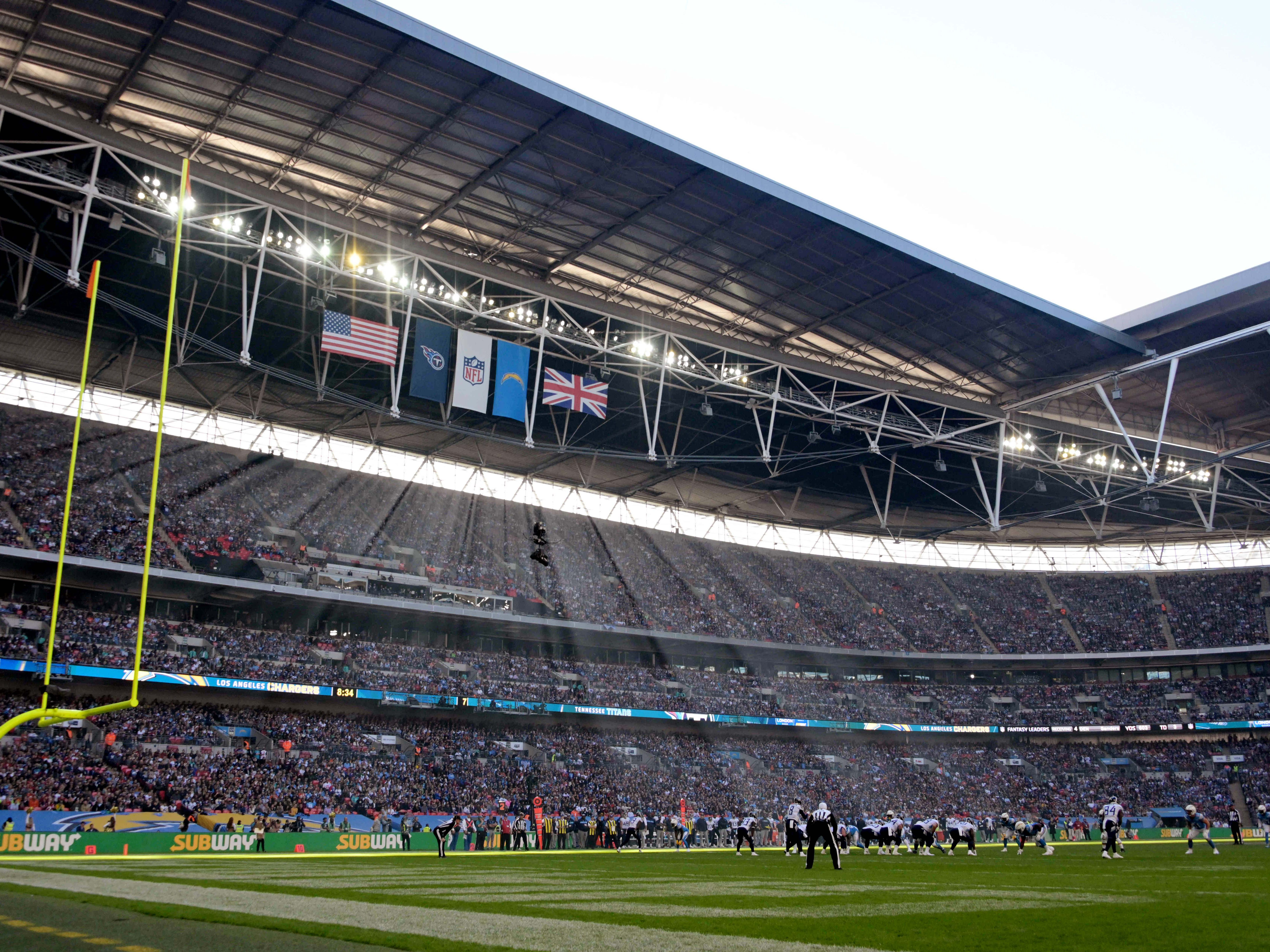 The Los Angeles Chargers and Tennessee Titans play during an NFL International Series game at Wembley Stadium. The Chargers won the game, 20-19.