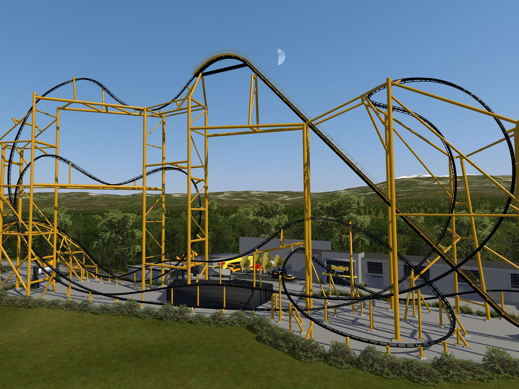 The new Steel Curtain roller coaster will be 220 feet tall, making it Pennsylvania's tallest coaster (and one of the tallest in the country).