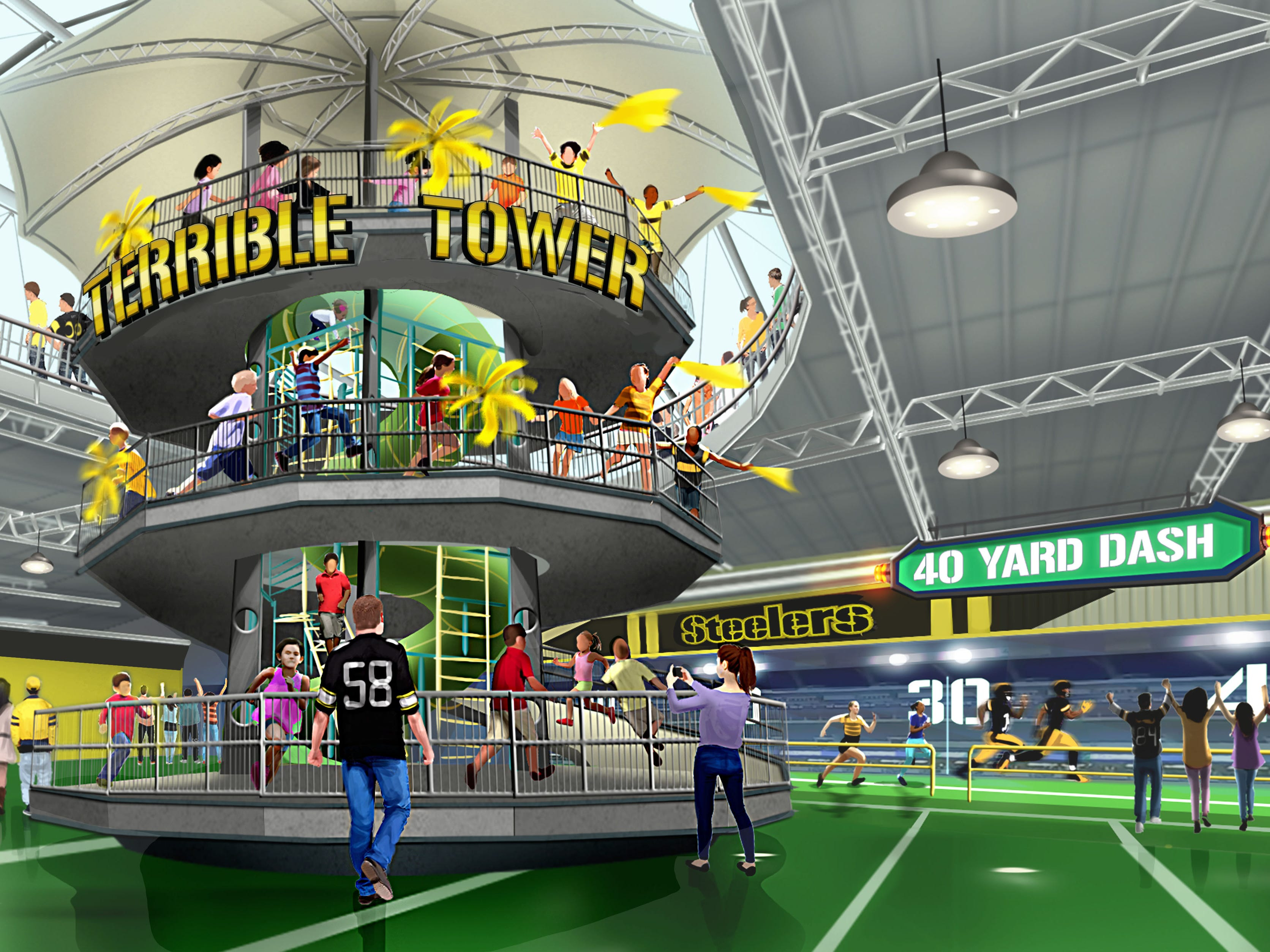The new Steel Curtain roller coaster at Kennywood will be part of a new football-focused land called Steelers Country.