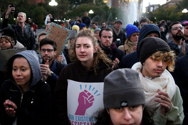 People gather at a rally for LGBTQI+ rights at Washington Square Park on Oct. 21, 2018 in New York City.