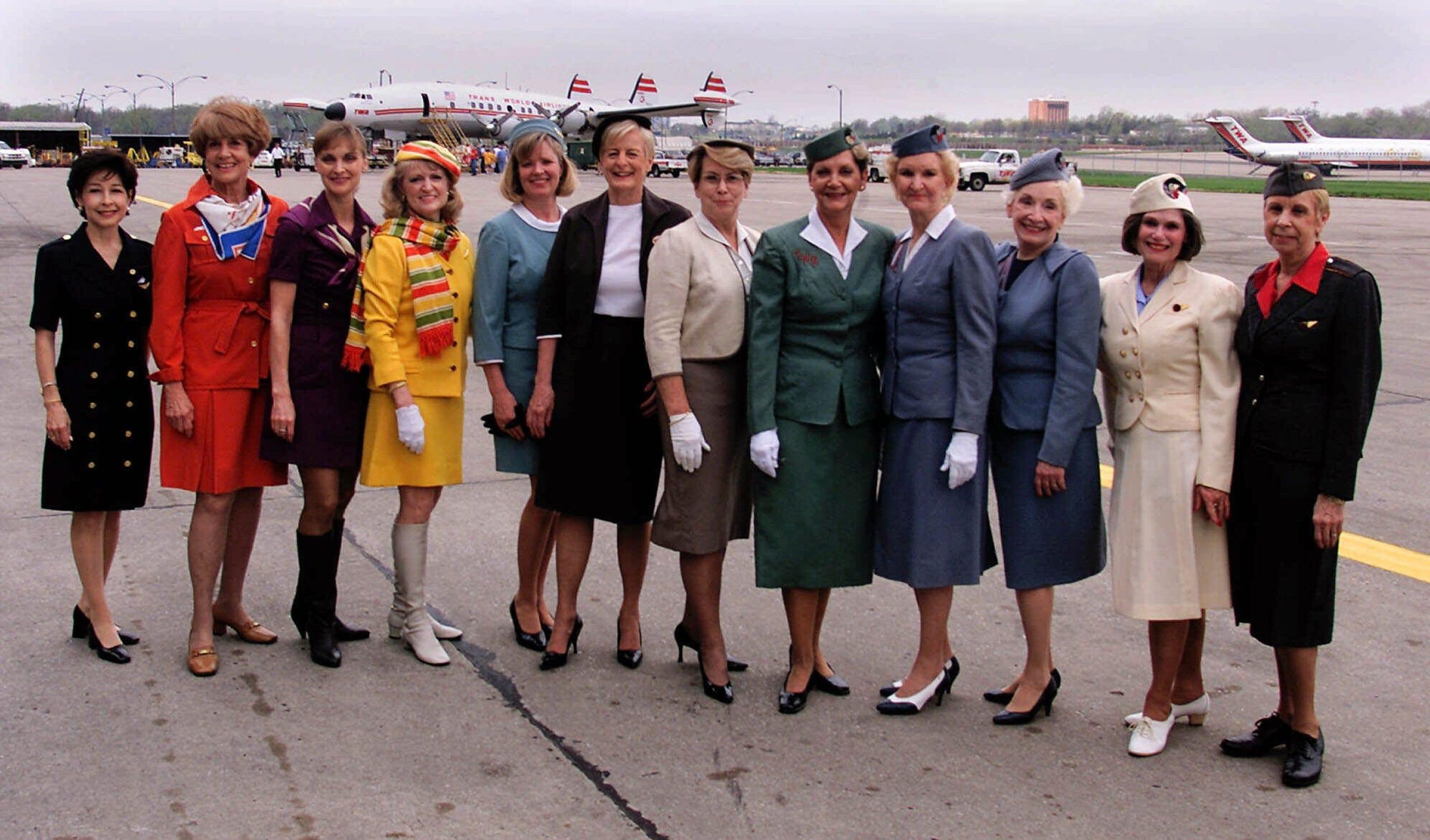 f02314f1461bb6 Flight attendant uniforms through the years