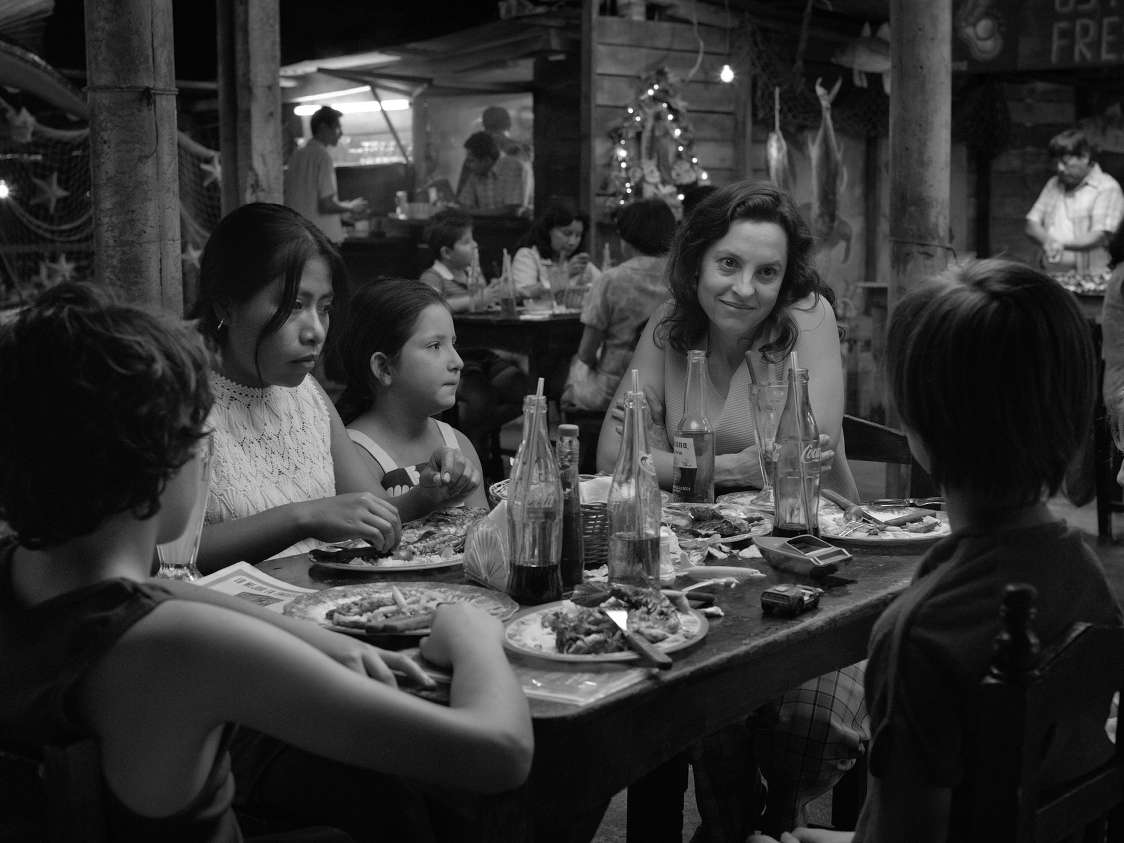 """Roma"" (R): ""Gravity"" director Alfonso Curaon returns in his most personal work: an artful and gripping black-and-white glimpse at a bourgeois family's housekeeper set in the backdrop of 1970's Mexico City. 