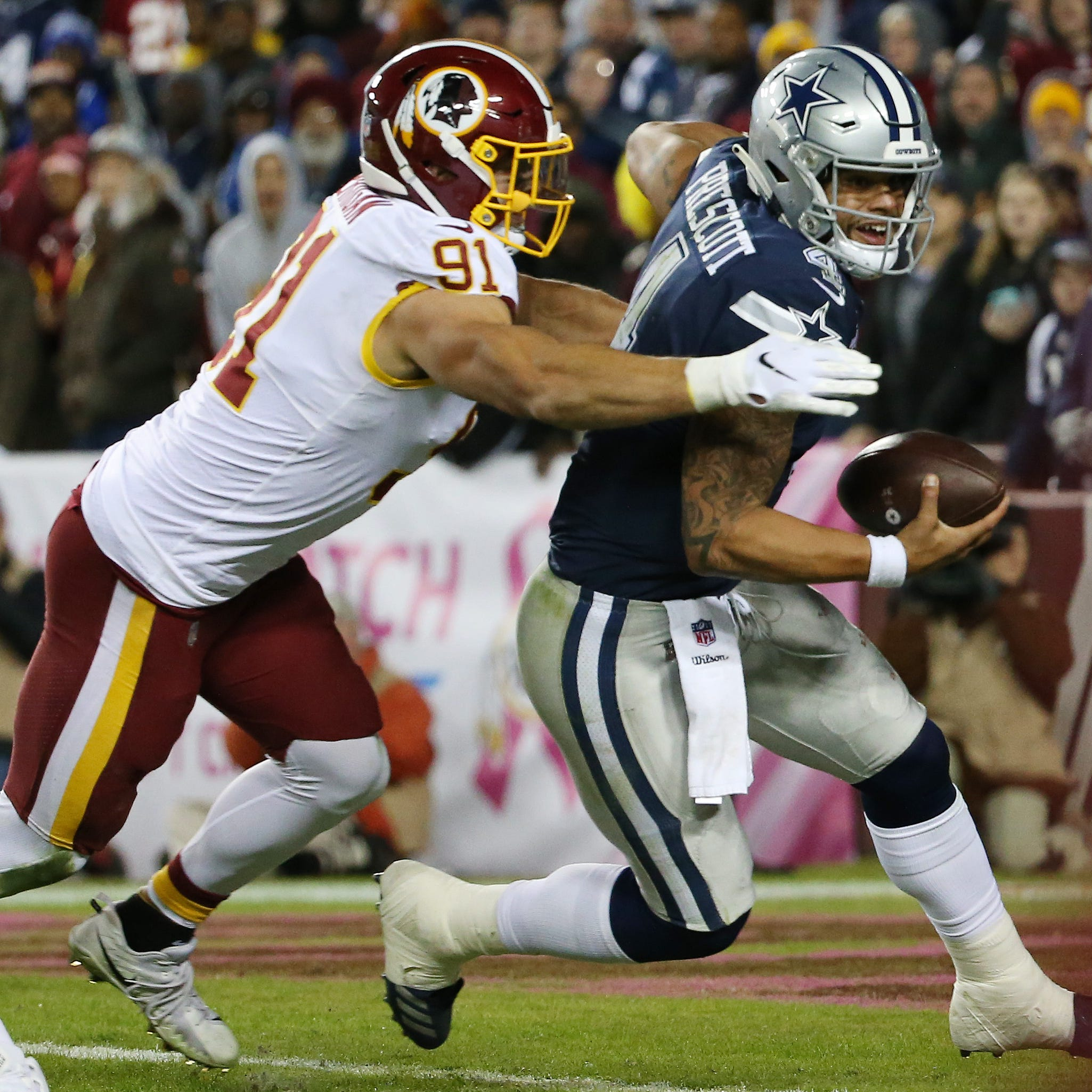 WATCH: Kerrigan has big game for Redskins with strip-sack late