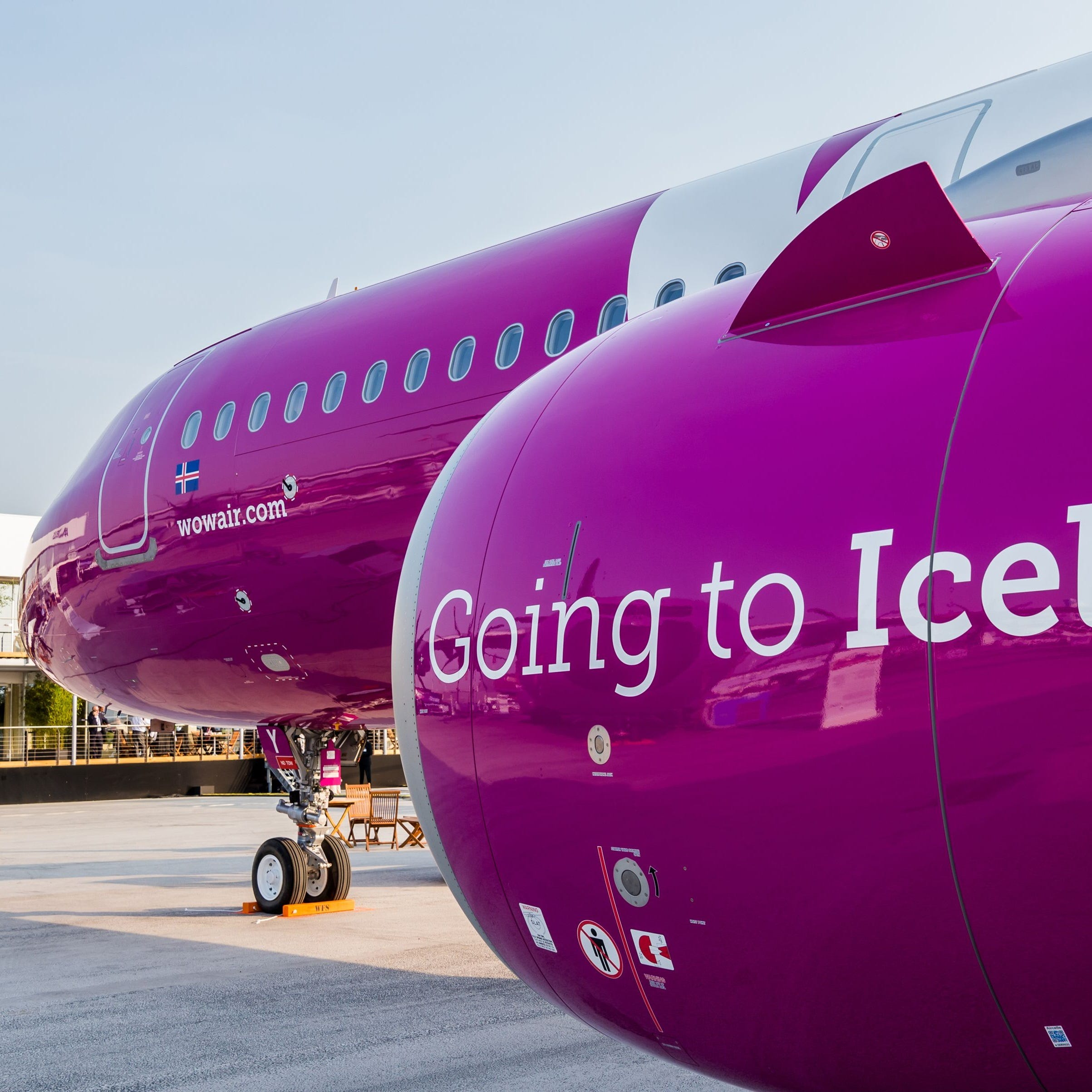 A WOW Air Airbus A321neo is seen at the 2017 Paris Air Show.
