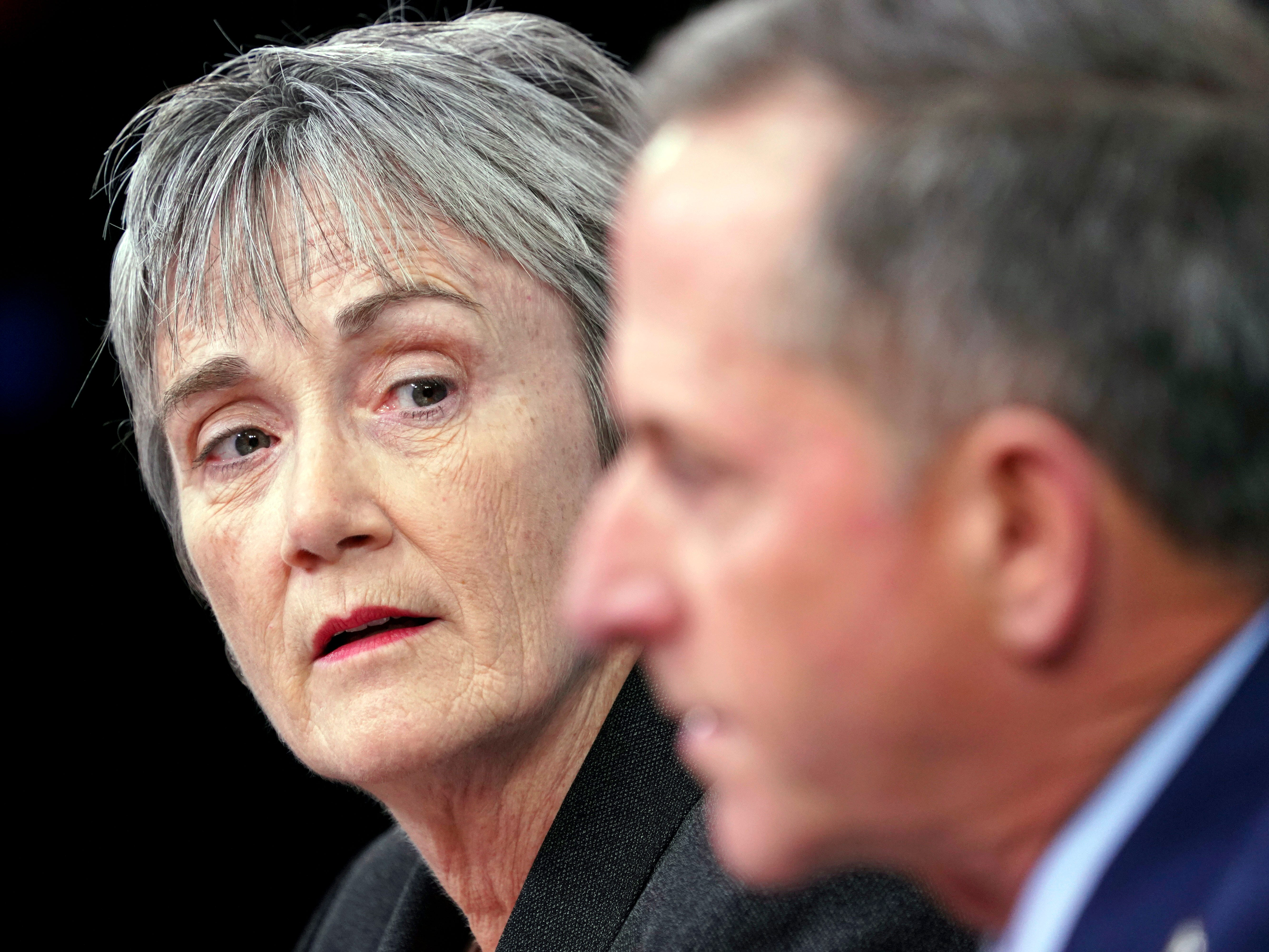 Air Force Secretary Heather Wilson, left, listens to Gen. David L. Goldfein, right, Chief of Staff of the U.S. Air Force at the Pentagon, Thursday, Nov. 9, 2017.