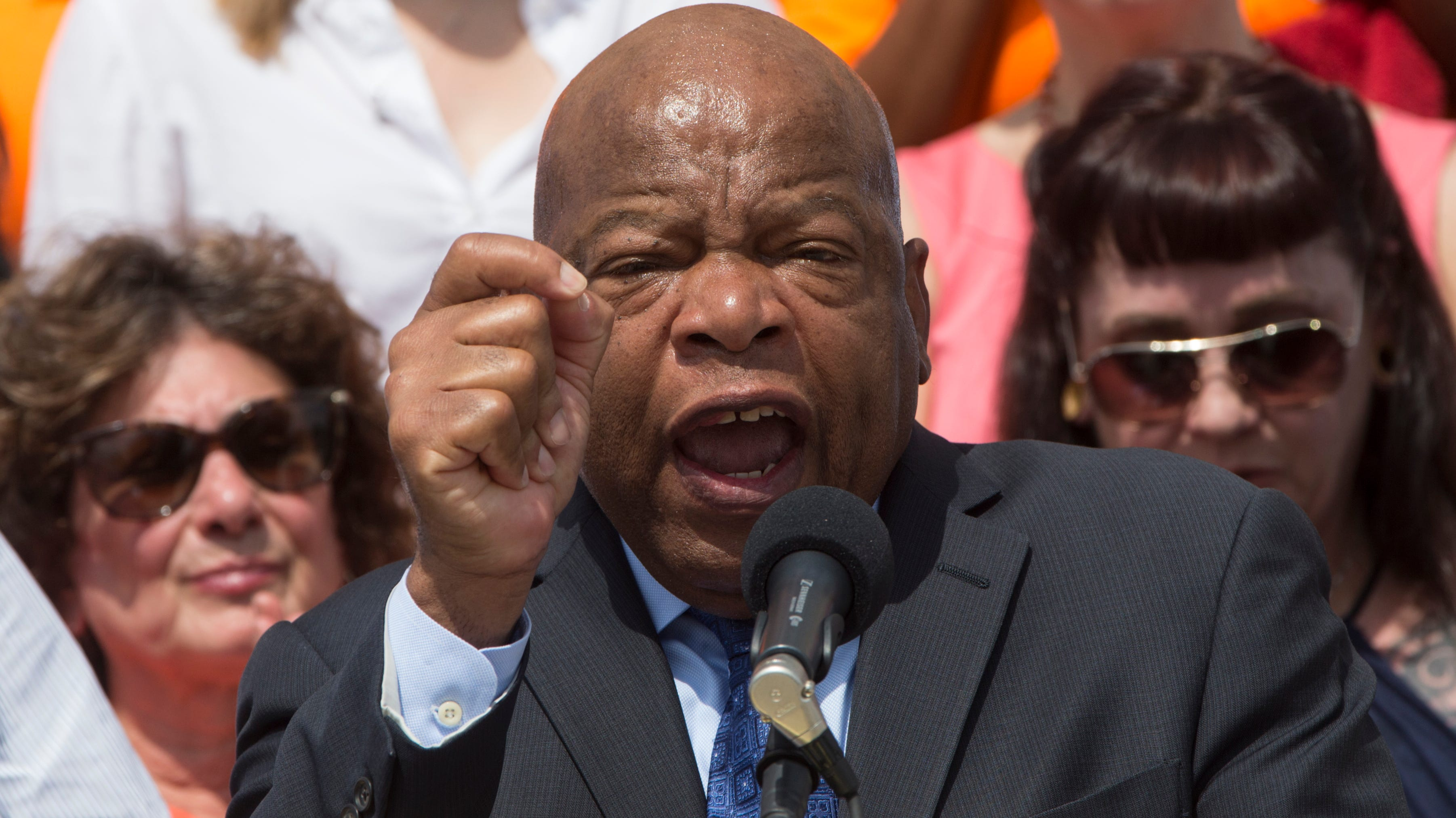 Rep. John Lewis, D-Ga., speaks at an anti-gun violence rally on the Capitol steps in Washington, July 6, 2016, calling on House Speaker Paul Ryan to allow votes on gun violence prevention legislation.