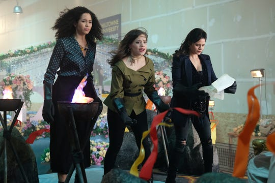 "Macy (Madeleine Mantock, from left), Maggie (Sarah Jeffery) and Mel (Melonie Diaz) work some magic on ""Charmed."""