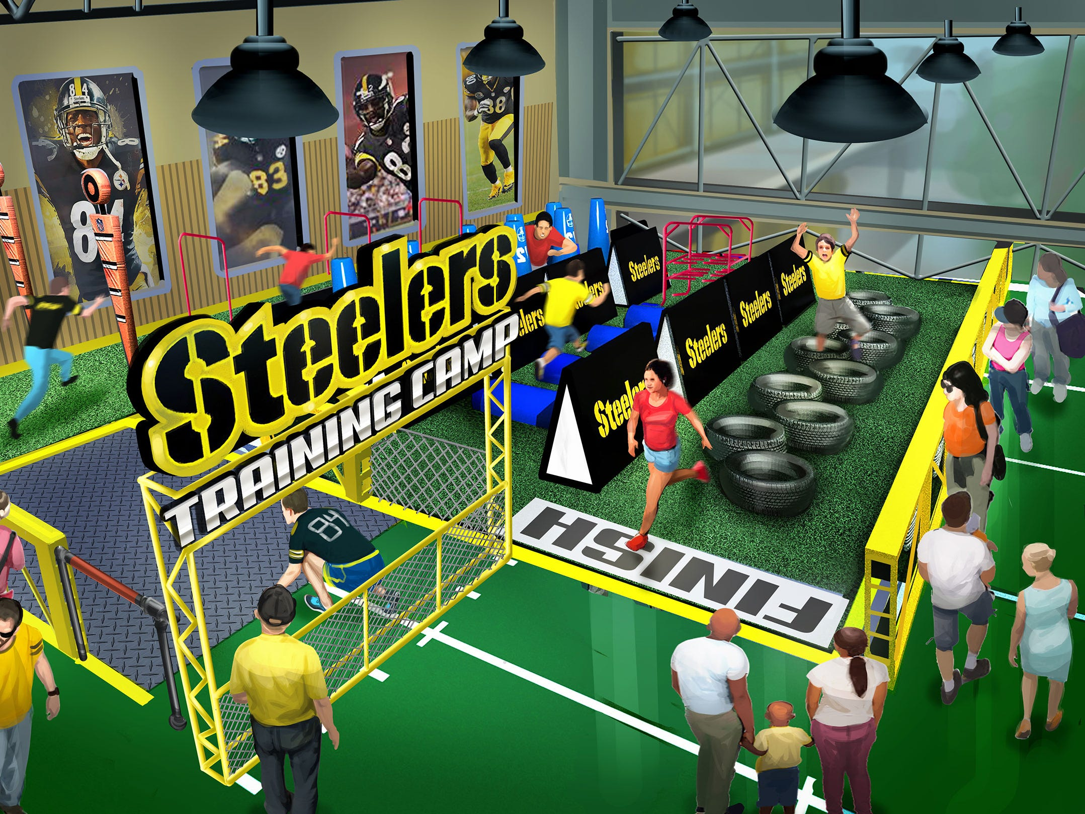 After Steel Curtain's wobbly passengers regain their equilibrium, they could head over to the Steelers Experience, a building packed with drills and activities that will mimic an NFL training camp or scouting combine.