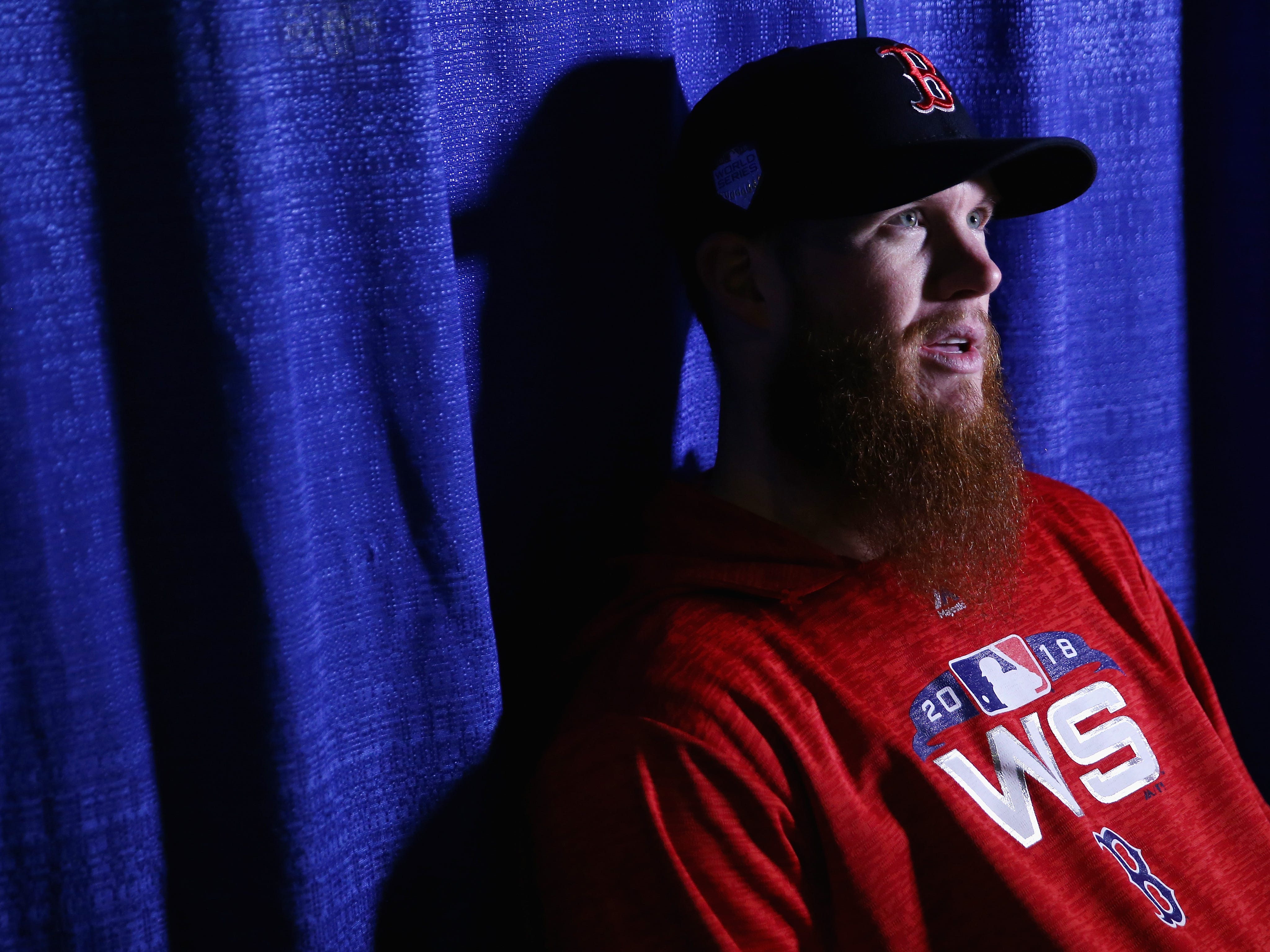 Red Sox closer Craig Kimbrel speaks with the press during media availability day.