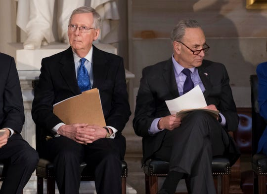 Senate Majority Leader Mitch McConnell, left, and Senate Democratic leader Charles Schumer. Groups aligned with both senators have poured millions of dollars into the Tennessee Senate race.