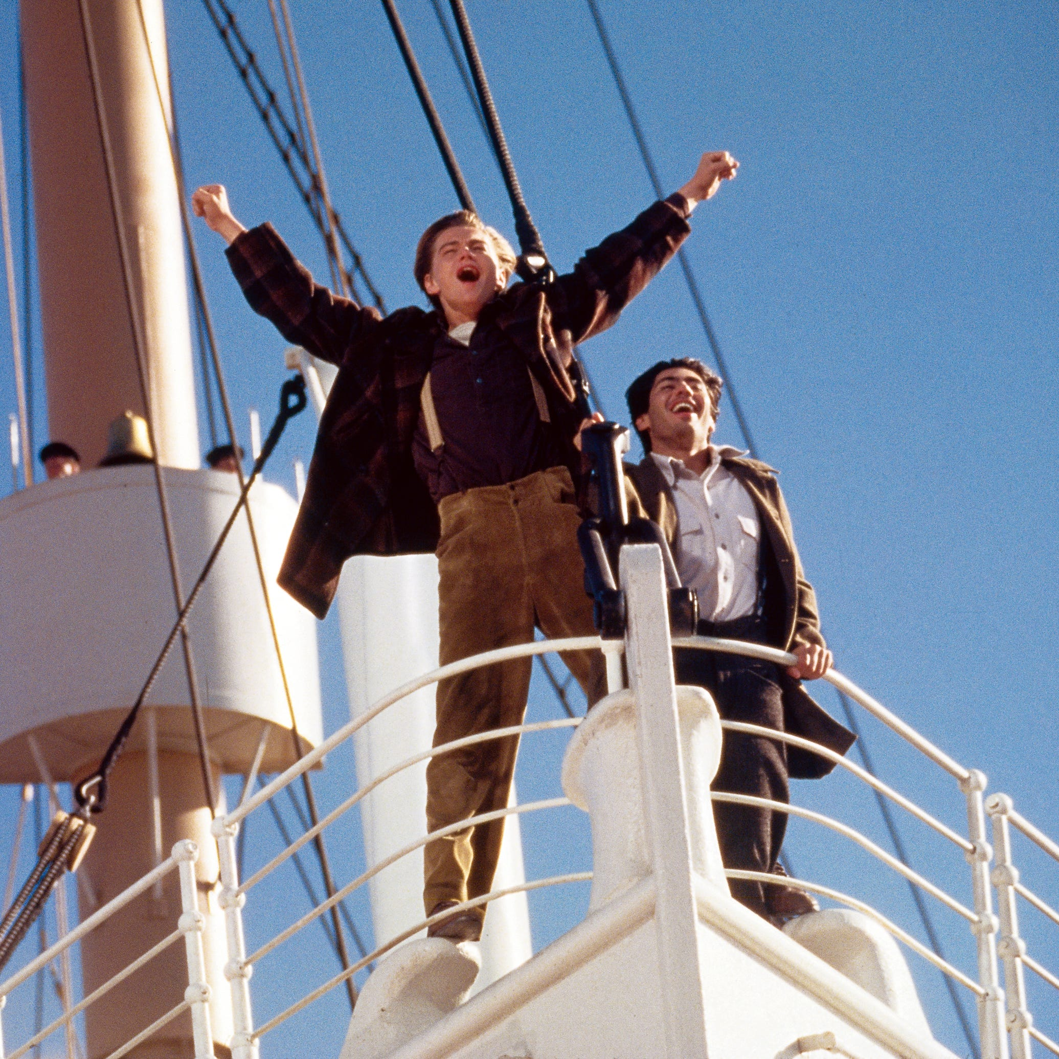 Jack (Leonardo DiCaprio) and friend Fabrizio (Danny Nucci) experience the Titanic for the first time in the famous 1997 film.