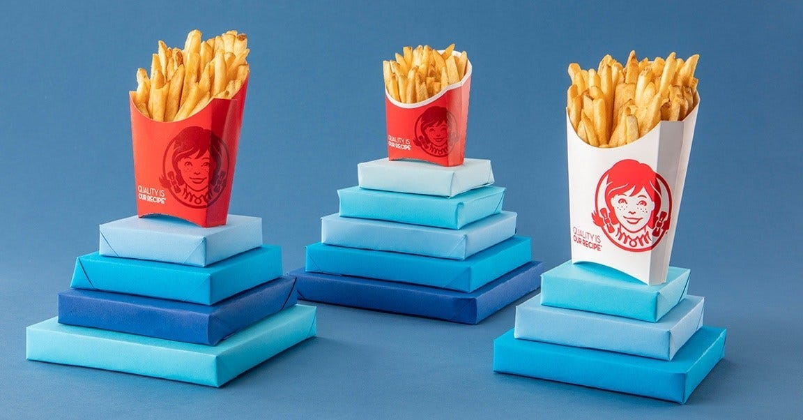 graphic relating to Printable Wendys Application named Wendys French fries package: Fork out particularly $1 for any dimensions for