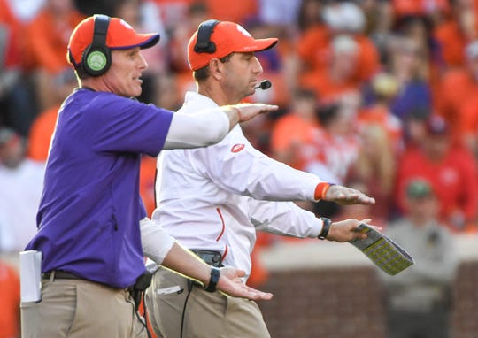 Clemson Defensive Coordinator Brent Venables and Head Coach Dabo Swinney during the third quarter in Memorial Stadium on Saturday, October 20, 2018.